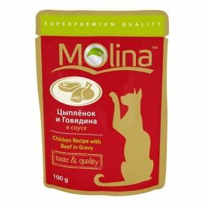 Корм для кошек Molina, 100 г, цыпленок и говядина