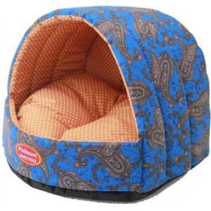 Домик для собак и кошек Родные Места Огурцы, размер 38х35х27см., синий