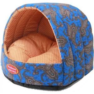 Домик для собак и кошек Родные Места Огурцы, размер 44х44х36см., синий