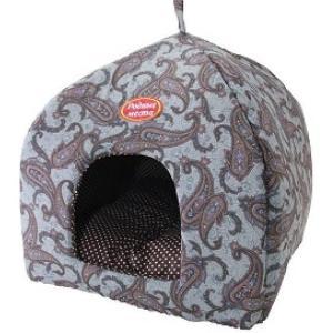 Домик для собак и кошек Родные Места Огурцы, размер 42х42х50см., серый
