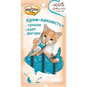Крем-лакомство для кошек Мнямс, 15 г, тунец кацуо и магуро
