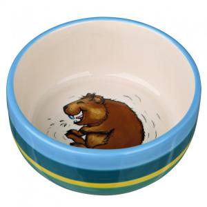 Миска для грызунов Trixie Ceramic Bowl, 250 мл, размер 11см., разноцветные полоски/кремовый
