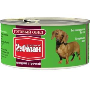Корм для собак Четвероногий гурман готовый обед, 325 г, говядина с гречкой