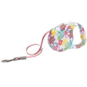 Поводок-рулетка для собак Freego Поляна, белый с цветами