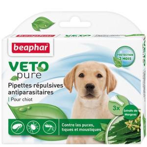 Капли от блох и клещей для щенков Beaphar Veto Pure, 3 пип.