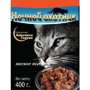 Корм для кошек Ночной охотник, 400 г, мясное ассорти