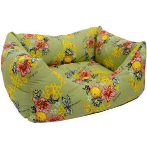 Лежак для собак и кошек Zooexpress Пчелы №5, 500 г, размер 58х43х18см., зеленый
