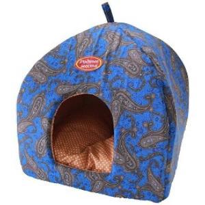 Домик для собак и кошек Родные Места Огурцы, размер 42х42х50см., синий