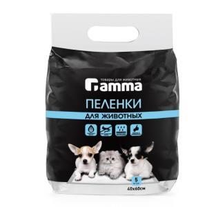 Пеленки для животных Гамма, размер 60x40см., 5 шт.