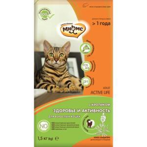 Корм для кошек Мнямс Active Life, 1.5 кг, кролик