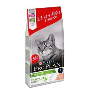 Корм для кошек Pro Plan Sterilised, 1.9 кг, лосось