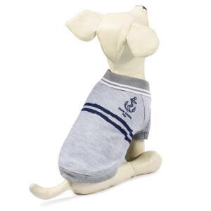 Футболка-поло для собак Triol Якорь M, размер 30см., бежево-серый