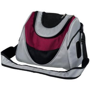 Переноска-рюкзак для собак и кошек Trixie Mitch, размер 35×28×22см., серебряный / ягодный