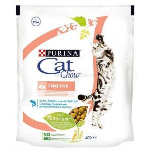 Корм для кошек Purina Cat Chow Sensitive, 400 г, домашняя птица с лососем