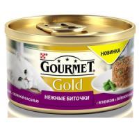 Фотография товара Корм для кошек Gourmet Gold Нежные биточки, 85 г, ягненок с фасолью