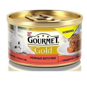 Корм для кошек Gourmet Gold Нежные биточки, 85 г, говядина с томатами