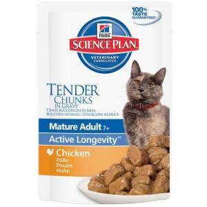 Влажный корм для пожилых кошек Hill's Mature Adult 7+ Active Longevity, 85 г, курица
