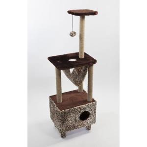 Когтеточка с домиком для кошек Велес, размер 45х35х140см., цвета в ассортименте