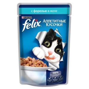 Корм для кошек Felix Аппетитные кусочки, 85 г, форель