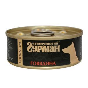 Влажный корм для собак Четвероногий гурман, 100 г, говядина в желе