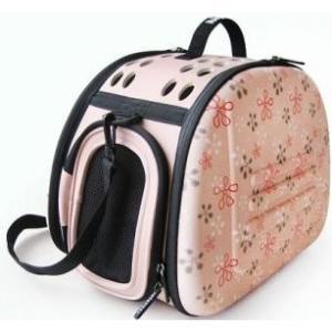 Cумка-переноска для собак и кошек Ibiyaya PTY, размер 46х32х30см., бледно-розовая в цветочек