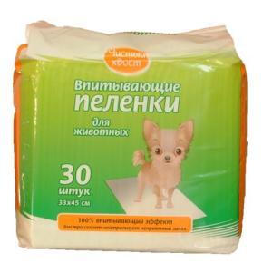 Пеленки для собак и кошек Чистый Хвост, размер 33х45см., 30 шт.