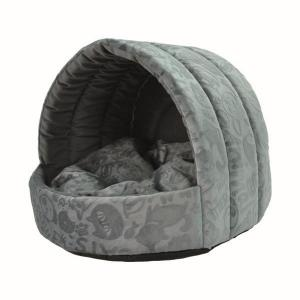 Домик для собак и кошек Homepet Велюр M, размер 44х44х36см., серый