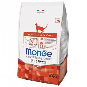 Monge Cat корм для кошек Monge Senior, 400 г, курица