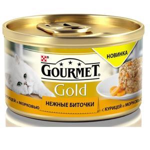 Корм для кошек Gourmet Gold Нежные биточки, 85 г, курица с морковью