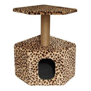 Домик с когтеточкой для кошек Гамма Угловой, размер 40х40х65см., цвета в ассортименте