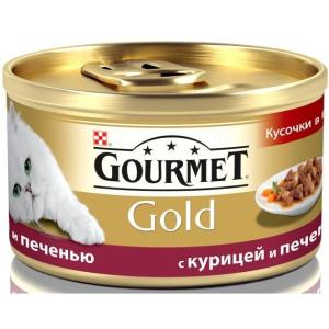 Корм для кошек Gourmet Gold, 85 г, курица и печень