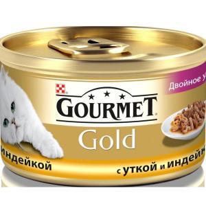 Корм для кошек Gourmet Gold, 85 г, утка с индейкой