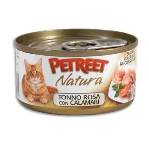 Консервы для кошек Petreet Natura, 70 г, розовый тунец с кальмарами