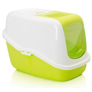 Закрытый туалет для кошек с фильтром Savic Nestor, размер 56х39х38.5см., белый/зеленый-лимон