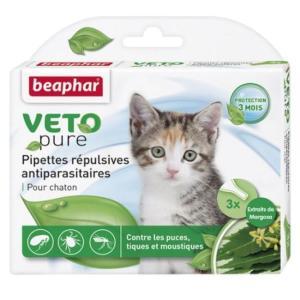 Капли от блох и клещей для котят Beaphar Veto Pure, 3 пип.