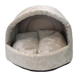 Домик для собак и кошек Homepet Велюр M, размер 44х44х36см., бежевый