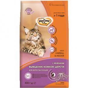 Корм для кошек Мнямс Hairball&Indoor, 400 г, ягненок