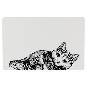Коврик под миску Trixie Zentangle, размер 44×28см., белый/черный