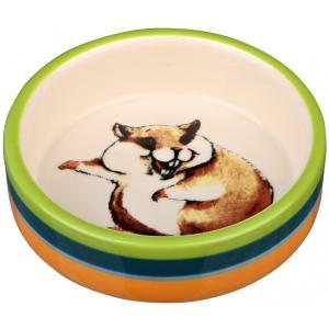 Миска для грызунов Trixie Ceramic Bowl, 80 мл, размер 8см., разноцветные полоски/кремовый