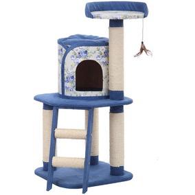 Игровая площадка для кошек с когтеточками Fauna International FLORAL PROM, размер 50х50х107см., голубой