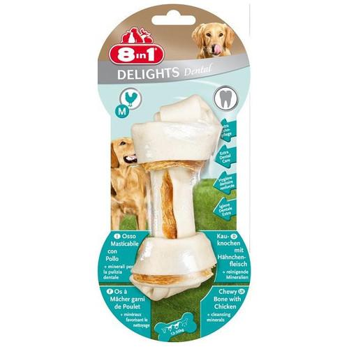Лакомство для собак 8 in 1 Delights Dental M, 122 г, размер 14.5см.