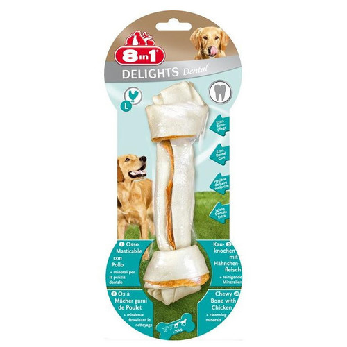 Лакомство для собак 8 in 1 Delights Dental L, 162 г, размер 21см.