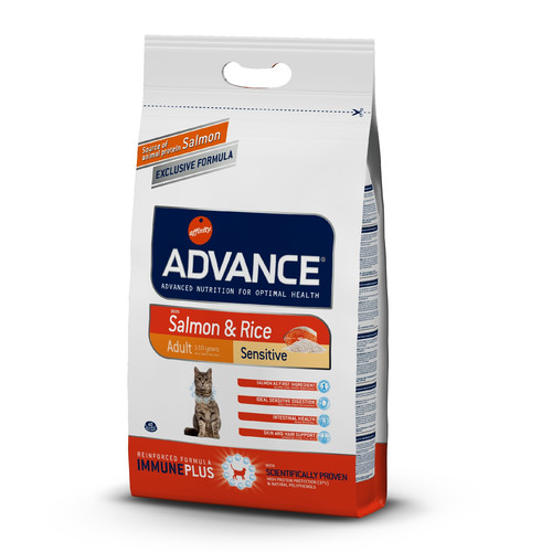 Корм для кошек Advance Adult Sensitive, 3 кг, лосось с рисом