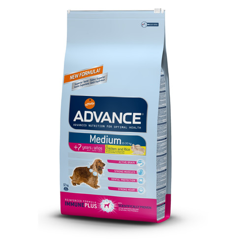 Корм для собак Advance Medium Senior, 12 кг, курица с рисом