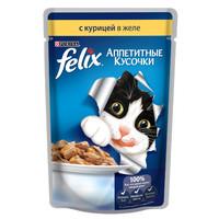 Фотография товара Корм для кошек Felix Аппетитные кусочки, 85 г, курица