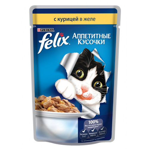 Корм для кошек Felix Аппетитные кусочки, 85 г, курица