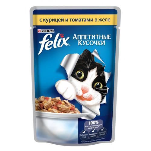 Корм для кошек Felix Аппетитные кусочки, 85 г, курица с томатами