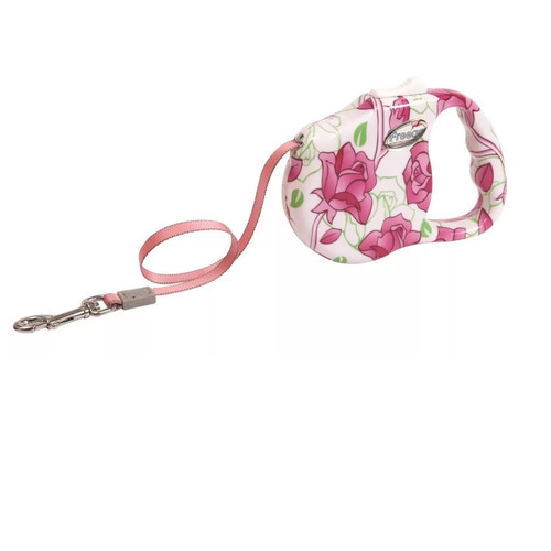 Поводок-рулетка для собак Freego Розовый цветок