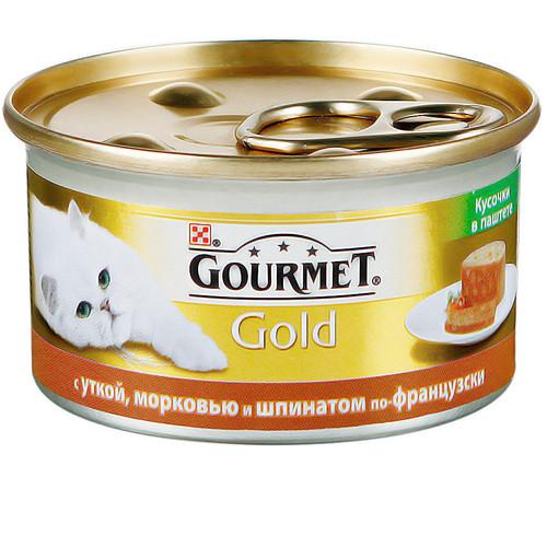 Корм для кошек Gourmet Gold Кусочки в паштете, 85 г, утка с морковью и шпинатом