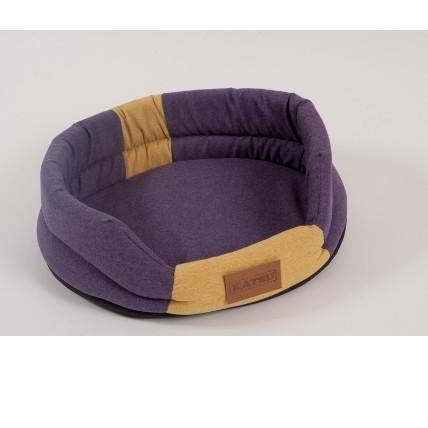 Лежак для собак Katsu Animal M, размер 72х60см., фиолетовый/желтый